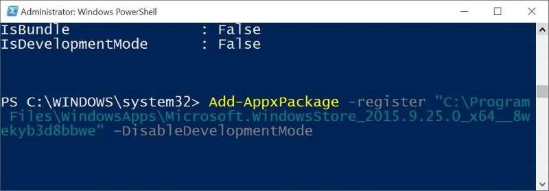 Reinstalar Store y otras aplicaciones preinstaladas en Windows 10 pic3