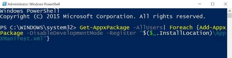 Reinstalar Store y otras aplicaciones preinstaladas en Windows 10 pic4