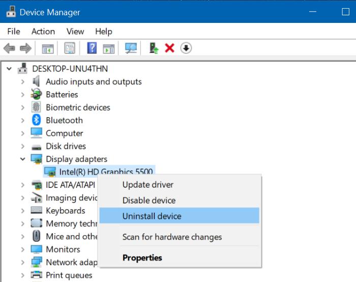 Reinstalar el controlador de gráficos en Windows 10 pic3