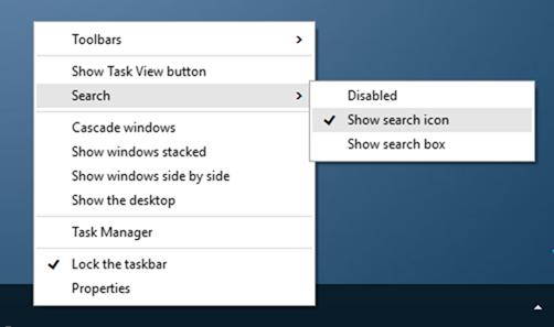 Quitar cuadro de búsqueda de la barra de tareas de Windows 10 paso 4