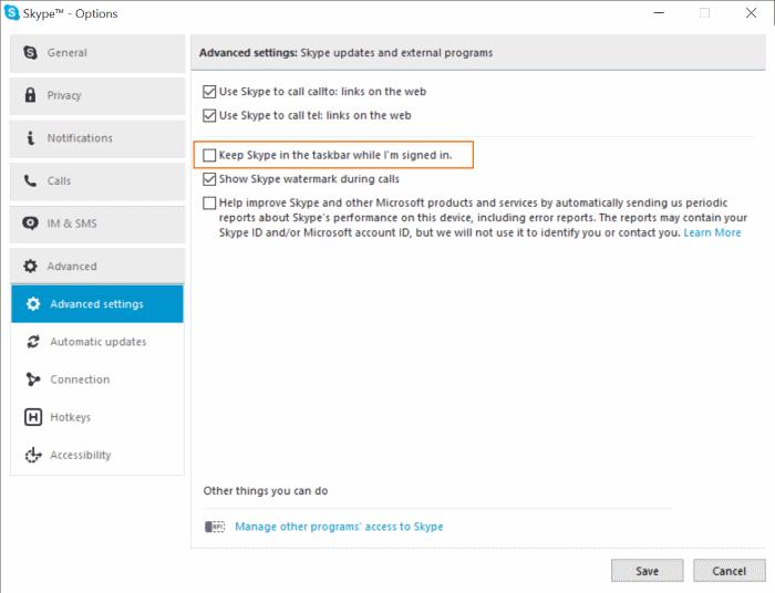 Quitar el icono de Skype de la barra de tareas de Windows 10 pic3
