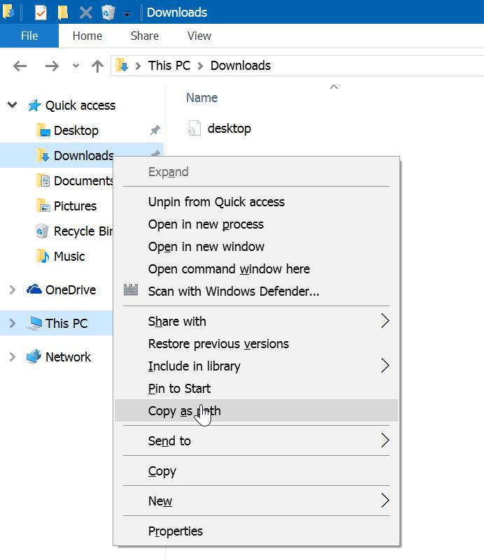 Renombrar carpetas de acceso rápido en Windows 10 step1