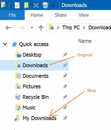 Renombrar carpetas de acceso rápido en Windows 10 step5