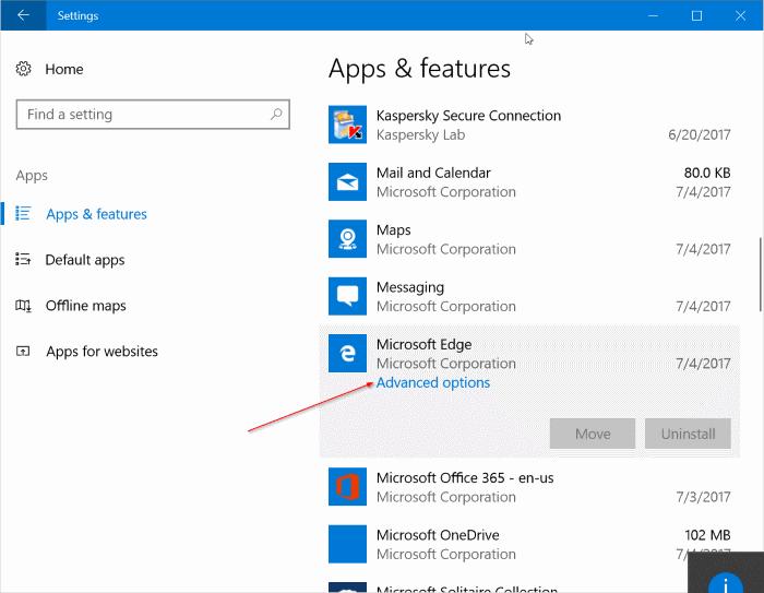 reparar Microsoft Edge en Windows 10