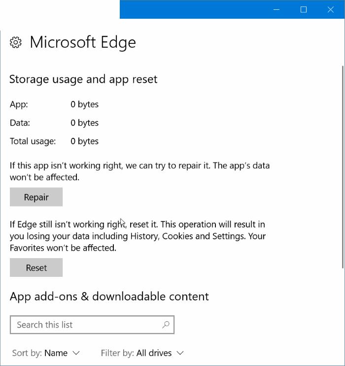 reparar Microsoft edge in Windows 10