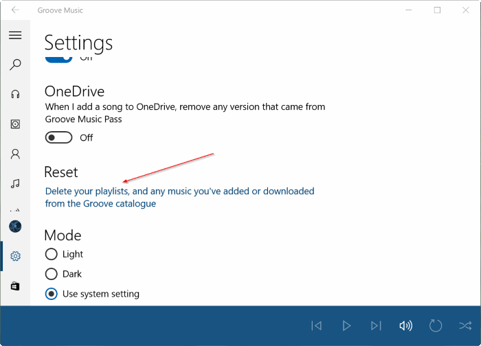 Reset Groove Music in Windows 10 pic3