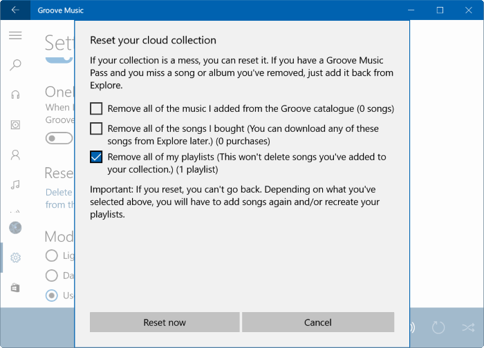 Reset Groove Music in Windows 10 pic4