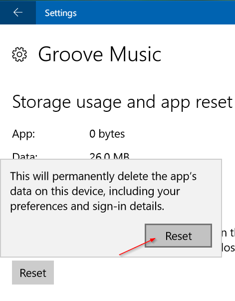 Reset Groove Music in Windows 10 pic9