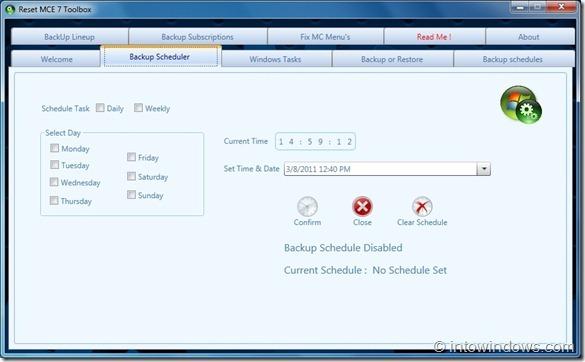 Reset MCE 7 Toolbox