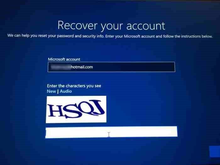 Restablecer la contraseña de la cuenta de Microsoft desde la pantalla de inicio de sesión en Windows 10 (1)