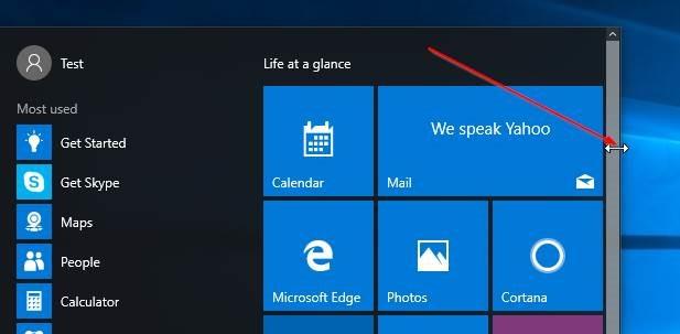 Redimensionar la imagen1 del menú Inicio de Windows 10