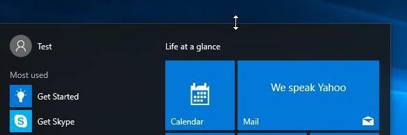 Redimensionar la imagen2 del menú Inicio de Windows 10