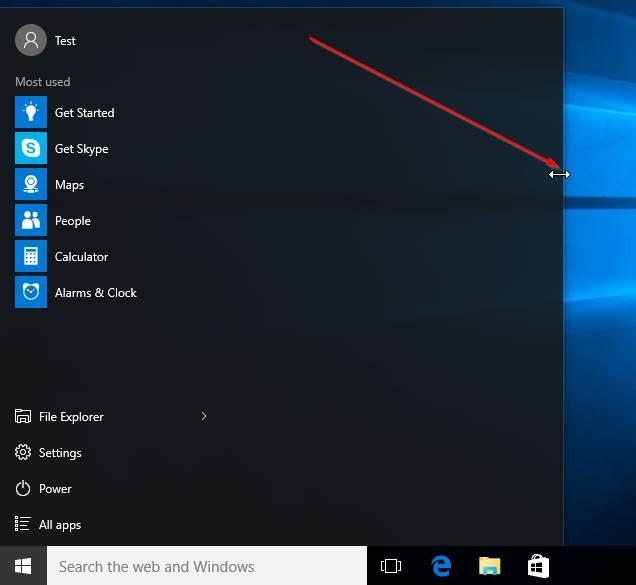 Redimensionar la imagen4 del menú Inicio de Windows 10