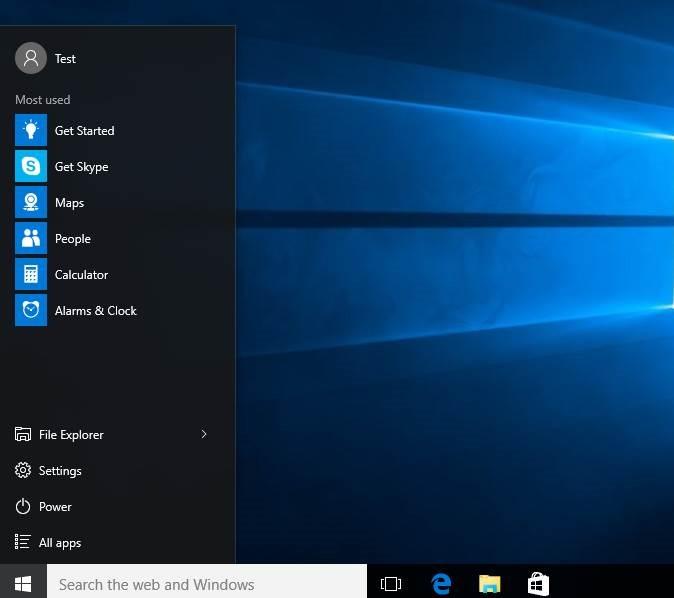 Redimensionar la imagen5 del menú Inicio de Windows 10