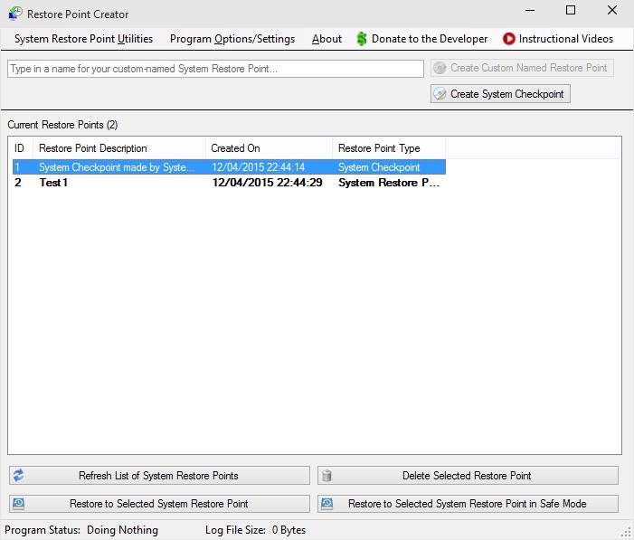 Restore Point Creator Windows 10