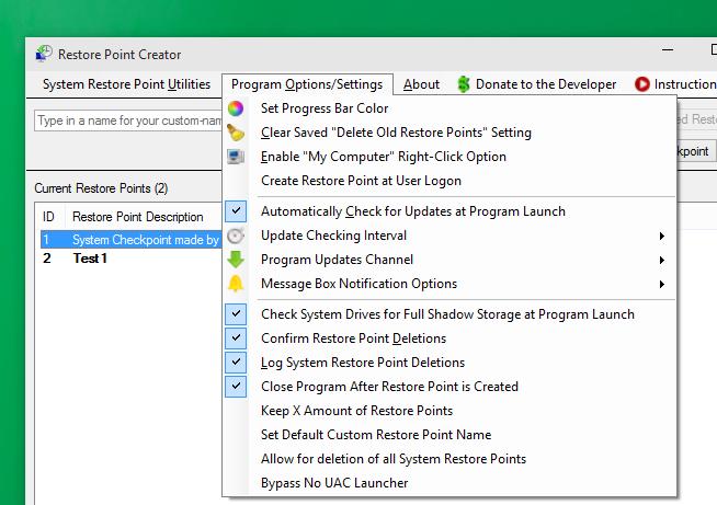 Restore Point Creator for Windows 10