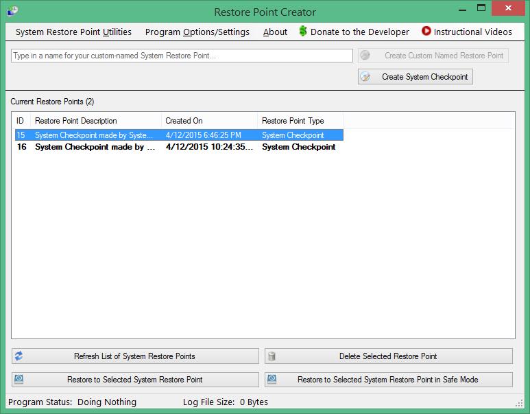 Restore Point Creator for Windows