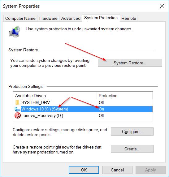 Restaurar Windows 10 a una fecha anterior step2