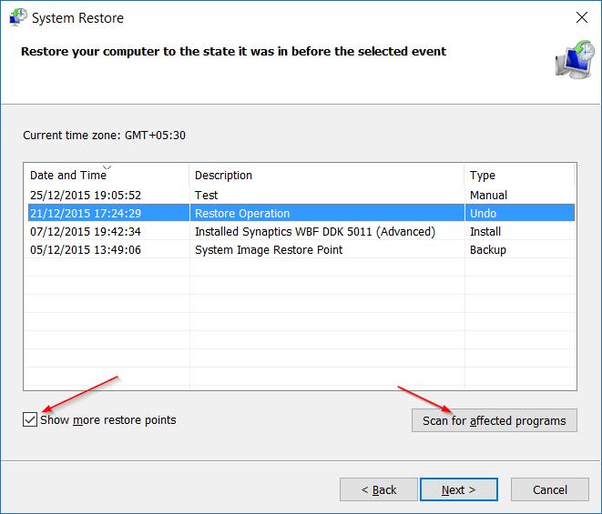 Restaurar Windows 10 a un paso de fecha anterior5