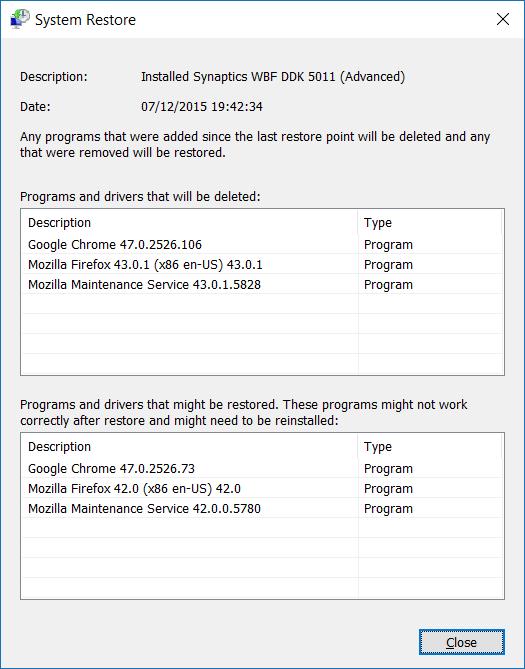 Restaurar Windows 10 a un paso de fecha anterior7