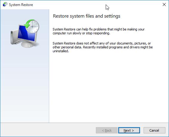 Restaurar Windows 10 a un paso de fecha anterior