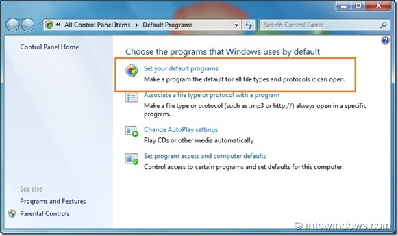 Restaurar las asociaciones de archivos del Reproductor de Windows Media en Windows 7 step2