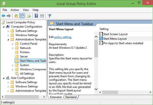 Restricción de la distribución del menú Inicio en Windows 10 step2