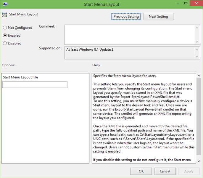 Restricción de la presentación del menú Inicio en Windows 10 step3