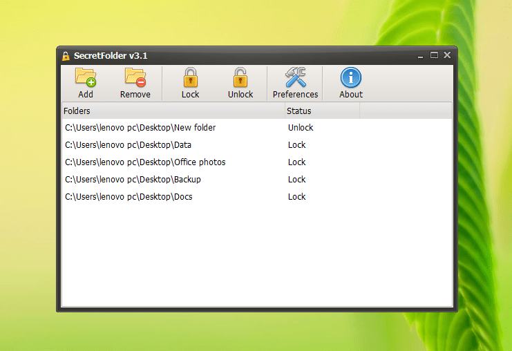 SecretFolder free folder locker for Windows picture3