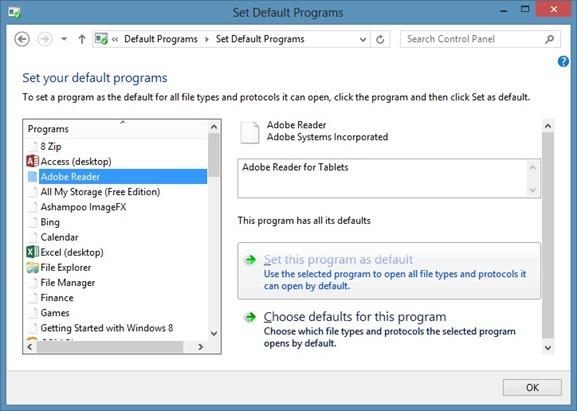 Set Adobe Reader Default PDF Reader In Windows 8 Step2