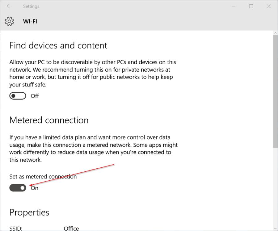 Configurar la conexión Wifi de Windows 10 como pic3 medido