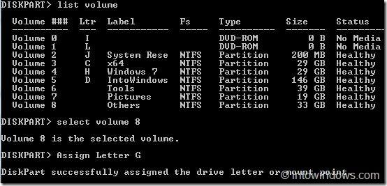 Mostrar unidades en Windows 7 usando línea de comandos