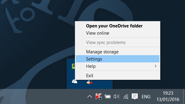 Salir de OneDrive en Windows 10 Paso 1