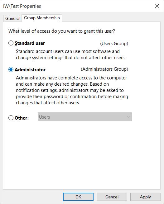 Cuenta estándar para la cuenta de administrador Windows 10 pic3
