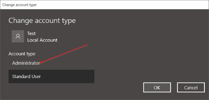 Cuenta estándar para la cuenta de administrador de Windows 10 pic6