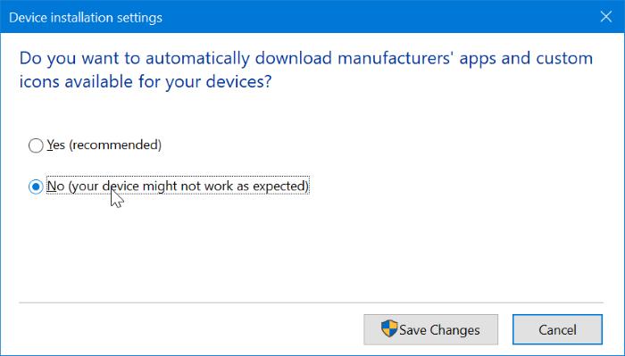 Impedir que Windows 10 instale automáticamente la aplicación de impresora y escáner pic2