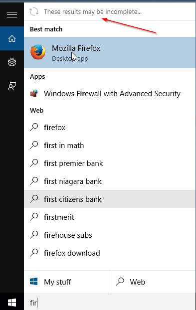 Estos resultados pueden ser mensajes incompletos en el menú Inicio de Windows 10