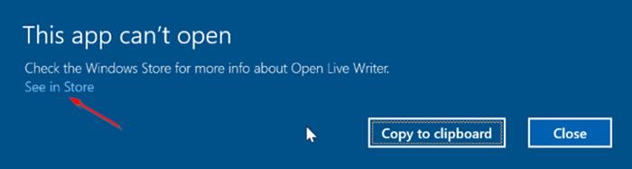 Esta aplicación no puede abrir error