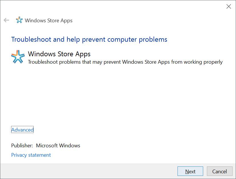 Solucionador de problemas para solucionar problemas con las aplicaciones de Windows 10 Store
