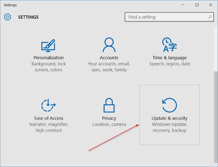 Activar Buscar mi dispositivo en Windows 10 step2