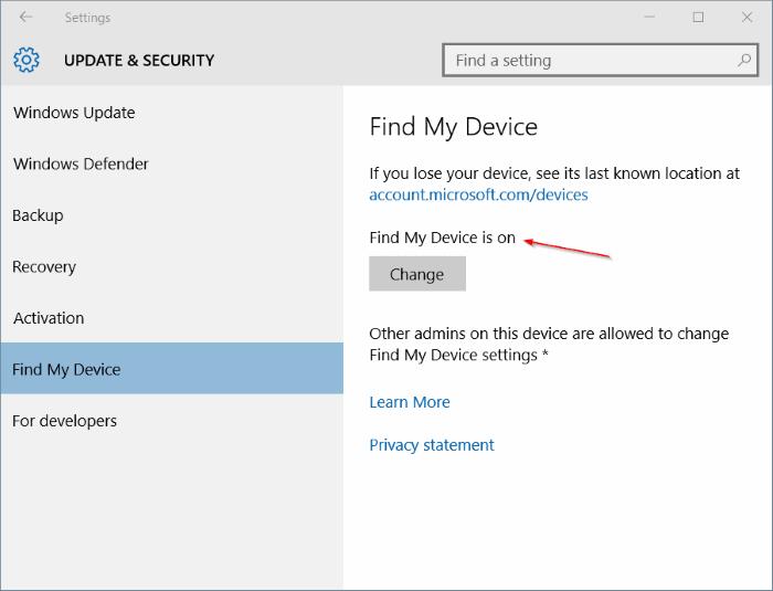 Activar Buscar mi dispositivo en Windows 10 step5