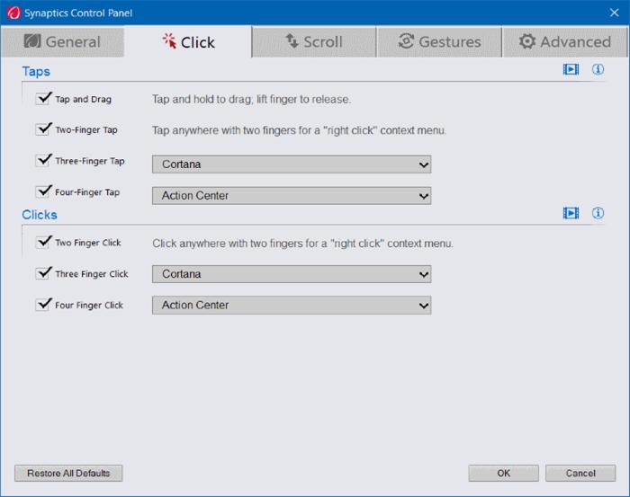 Activar o desactivar los gestos del panel táctil en Windows 10 pic8