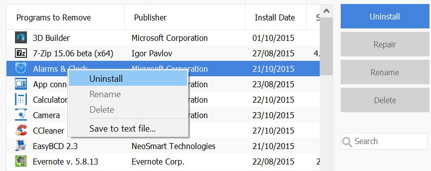 Desinstalar aplicaciones de Windows 10 preinstaladas CCelaner