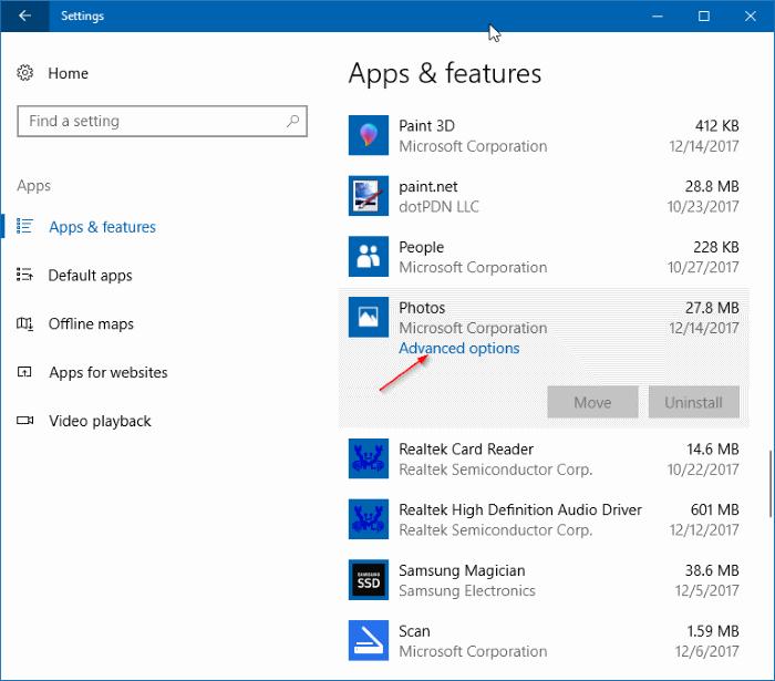 Desinstalar complementos de aplicaciones en Windows 10 pic1