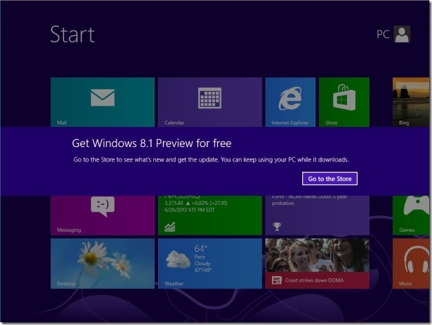 Upgrade Windows 8 to Windows 8.1 Preview Step9