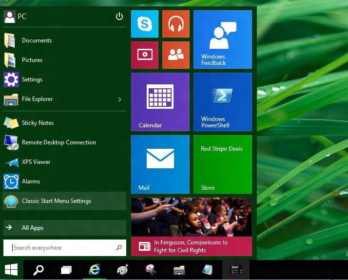 Usar el antiguo y el nuevo menú Inicio juntos en el SO Windows 10