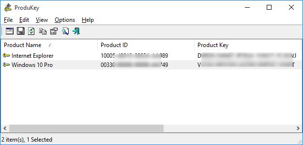 Ver clave de producto de Windows 10 ProduKey
