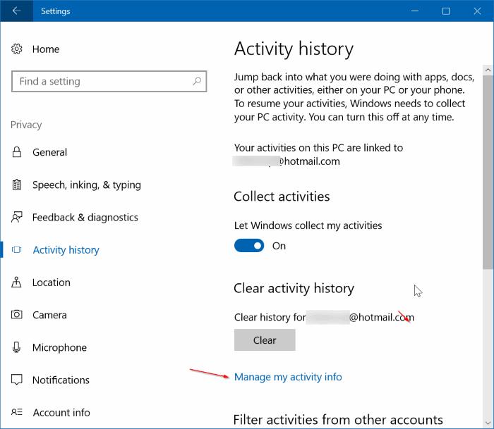 Ver y borrar el historial de actividad en Windows (1)