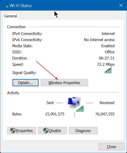 Ver contraseña WiFi guardada en Windows 10 Step4