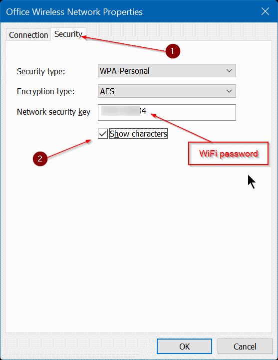 Ver contraseña WiFi guardada en Windows 10 Paso 5